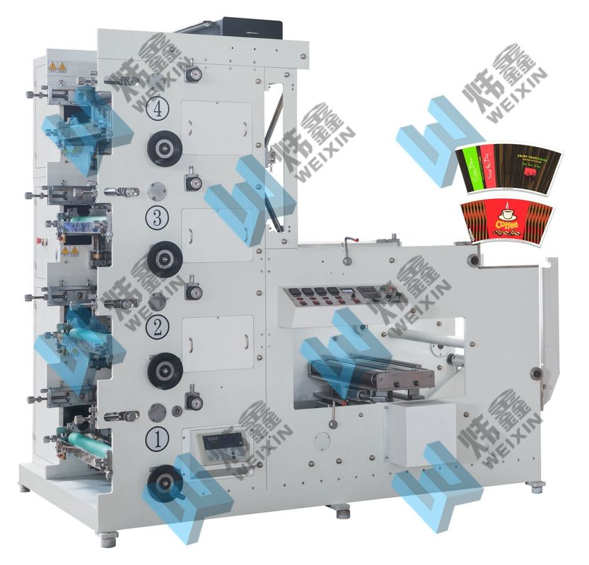 4 / 5 / 6  Colors Paper Cup Flexo Printing Machine With Automatic Tension Controller